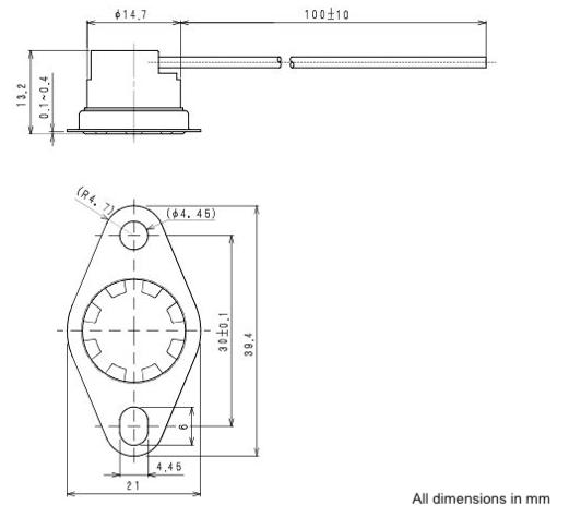 Asahi US 628 line drawing. Waterproof disc thermostat with leads.