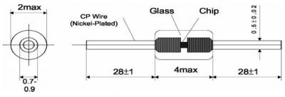 ATC Semitec ATCD Glass Diode NTC Thermistor Technical Drawing
