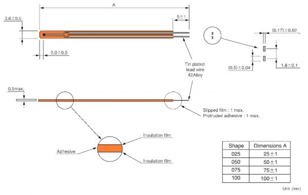 Semitec JT Ultra-Thin Film NTC Thermistor Technical Drawing