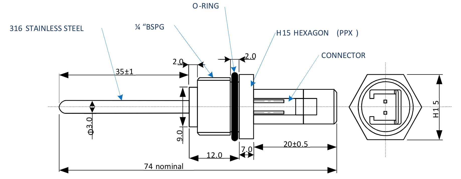 BTS2 Thinwall Stainless Temperature Sensor Technical Drawing