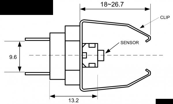 ATC Semitec BTS3 Pipe-Clip Surface Sensors Drawing