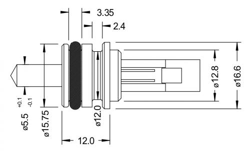 Semitec BTS4 Push-Fit/Clip-In Sensor Drawing