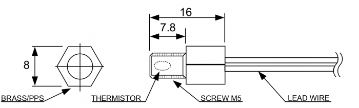 FRP4 Fast Response Stud Mount Temperature Sensor Drawing