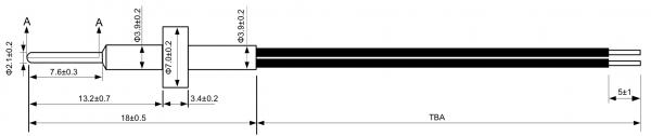 semitec FRP5 Thinwall Tip Temperature Sensor Drawing