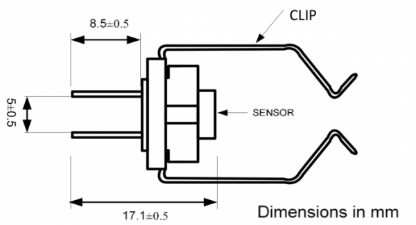 STS 1 IP67 Pip Clip Sensor Drawing
