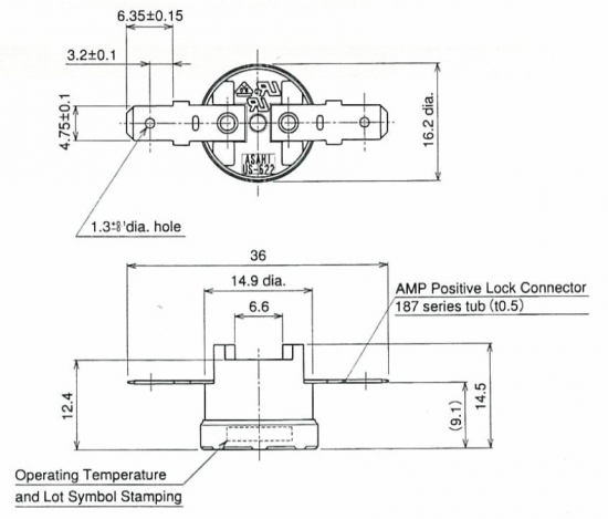 Asahi US-622 1/2″ Disc Thermostat Drawing
