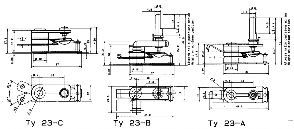 TY-23 Surface Sensing Thermostat Drawing