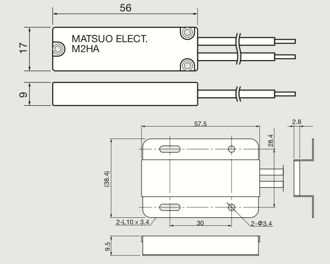 M2HA High Temperature Thermostat Technical Drawing