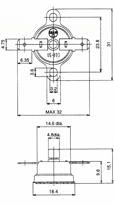 US-603 Manual Reset Disc Thermostat Drawing