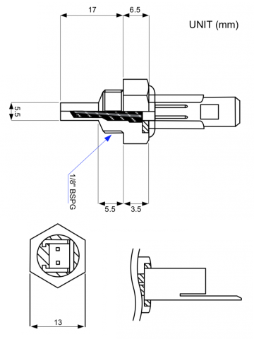 Semitec FRP3 HVAC Immersion Temperature Sensor Drawing