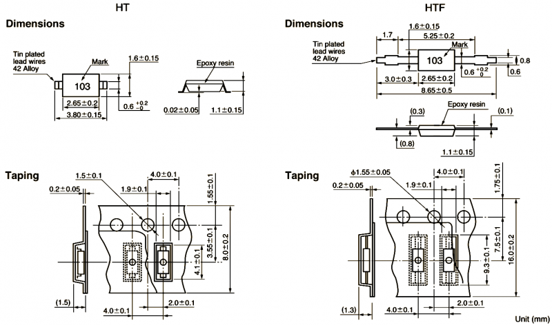 Semitec High Accuracy HT Mini Chip NTC Thermistor Technical Drawing